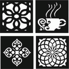Decorative Motifs Of Flower Squares And Coffee Cups For Laser Cut Cnc Free CDR Vectors Art
