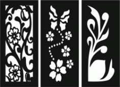 Flowers And Plants Decorated Baffles For Laser Cut Cnc Free CDR Vectors Art