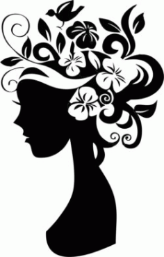 Girl With Flowers On Her Head For Laser Engraving Machines Free CDR Vectors Art