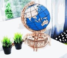 Globe Model For Laser Cut Cnc Free CDR Vectors Art