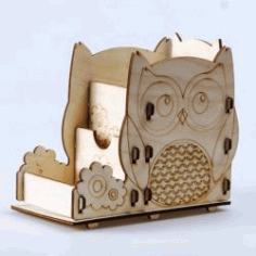 Owl Shaped Stationery Shelves For Laser Cut Cnc Free CDR Vectors Art