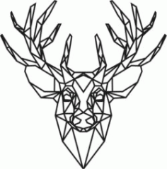 Panel Polygonal Deer Head For Laser Cut Free CDR Vectors Art