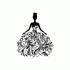 Beautiful Dress Woman Free DXF File