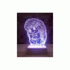 Sitting Hedgehog 3d Illusion Lamp Model Free DXF File