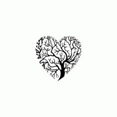 Tree Heart Silhouette Free DXF File