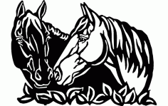Black And White Horse Art Free DXF File