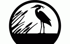 Heron Silhouette In Circle Free DXF File