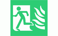 High Safety Fire Exit Symbol With Flames Left Sign Free DXF File