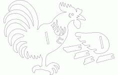 Rooster 3d Puzzle Line Art Free DXF File