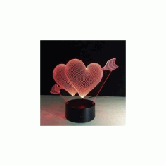 Heart 3d Led NightLight Free CDR Vectors Art