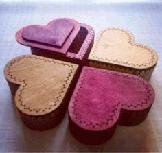 4 Wooden Heart Box For Laser Cut Cnc Free DXF File