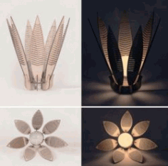 Flower Lamp For Laser Cut Free DXF File