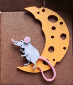 Mouse With Moon For Laser Cut Free DXF File