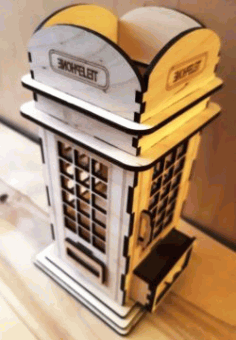 Phone Booth Pen Holder For Laser Cut Free DXF File