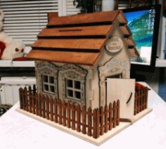 Wooden House Model For Laser Cut Cnc Free DXF File