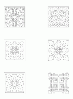 Laser Cut Collection Of Square Ornaments Patterns Free DXF File