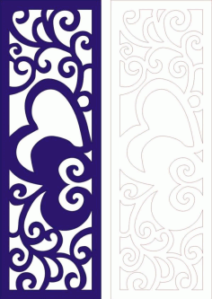 Laser Cut Heart Design Partition Wall Pattern Free DXF File