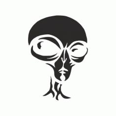 Alien Pumpkin Carving Stencil Free DXF File