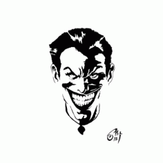 Black And White Joker Stencil Free DXF File