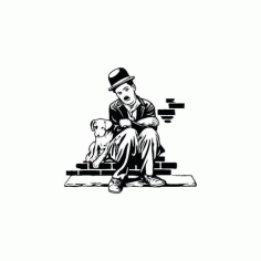 Charlie Chaplin Charlot Dog Life Sticker Free DXF File