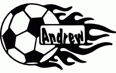 Soccer Ball With Flames And Name Free DXF File