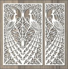 Screened Peacock For Laser Cut Cnc Free CDR Vectors Art