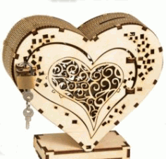Heart Box With Lock For Laser Cut Cnc Free DXF File