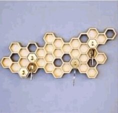 Honeycomb Key Holder For Laser Cut Free DXF File