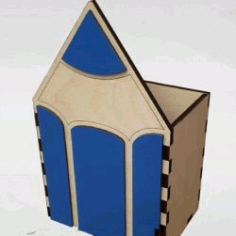 Pencil Shaped Box For Laser Cut Free DXF File