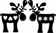 Reindeer With Heart And Snowflakes For Laser Cut Plasma Decal Free DXF File