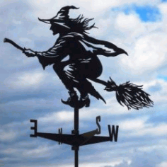 Witch Weather Vane For Laser Cut Plasma Free DXF File