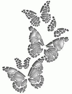 Memory Butterfly Stencil Free DXF File