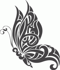 Tattoo Butterfly Wall Art Design Free DXF File