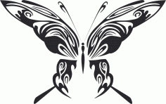 Tattoo Tribal Butterfly Metal Art Design Free DXF File