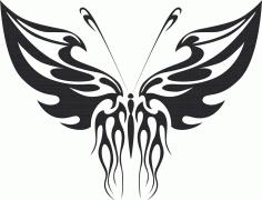 Tattoo Tribal Butterfly Metal Art Free DXF File