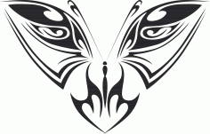 Tattoo Tribal Butterfly Plasma Art 129 Free DXF File