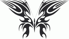 Tattoo Tribal Butterfly Silhouette Design Free DXF File