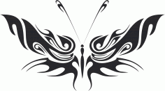 Tattoo Tribal Butterfly Wildlife 336 Free DXF File
