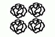 4 Rose Flowers Free DXF File