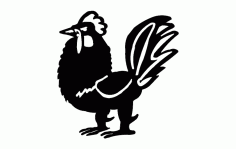 Rooster Standing Free DXF File
