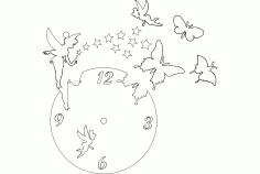 Clock Butterfly Fairy Free DXF File