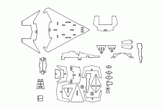 f22 Stealth Puzzle Free DXF File