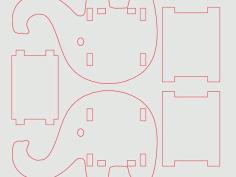 Elephant Phone Pen Holder v3 Free DXF File