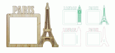 London Paris Photo Frame Laser Cut And Engraving Free CDR Vectors Art