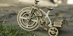 Laser Cut Wooden Mechanical Bike Free DXF File