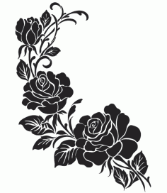 Black And White Flowers Download Free DXF File