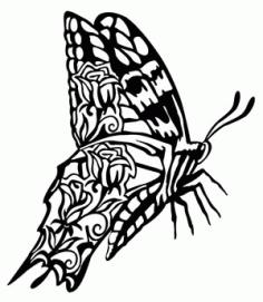 Butterfly Scene Flying Free DXF File