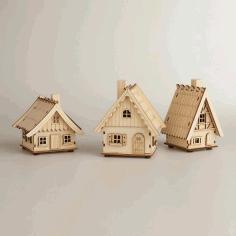 Laser Cut Projects 3 Houses Free CDR Vectors Art