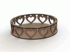 Mdf Laser Cutting Designs Bandejas corações Free DXF File