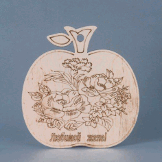 Apple Shape Laser Cut Wood Engraving Free DXF File